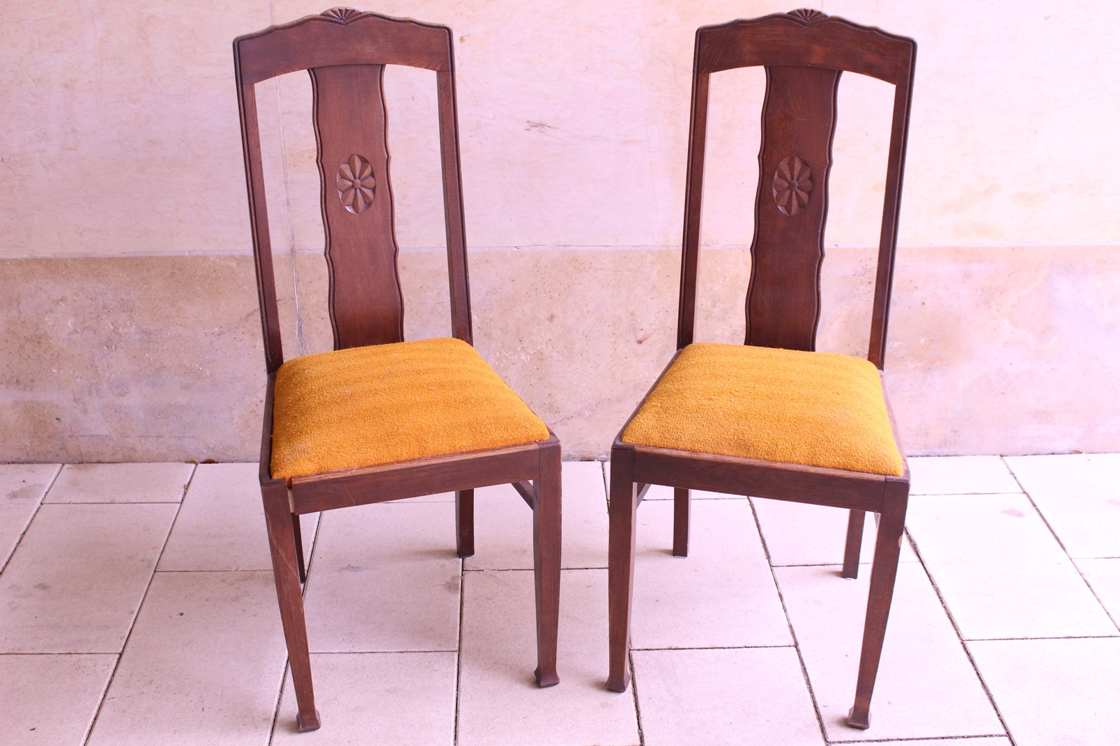 2 alte polsterst hle massiv holz federkern antik polster stuhl set jugendstil ebay. Black Bedroom Furniture Sets. Home Design Ideas