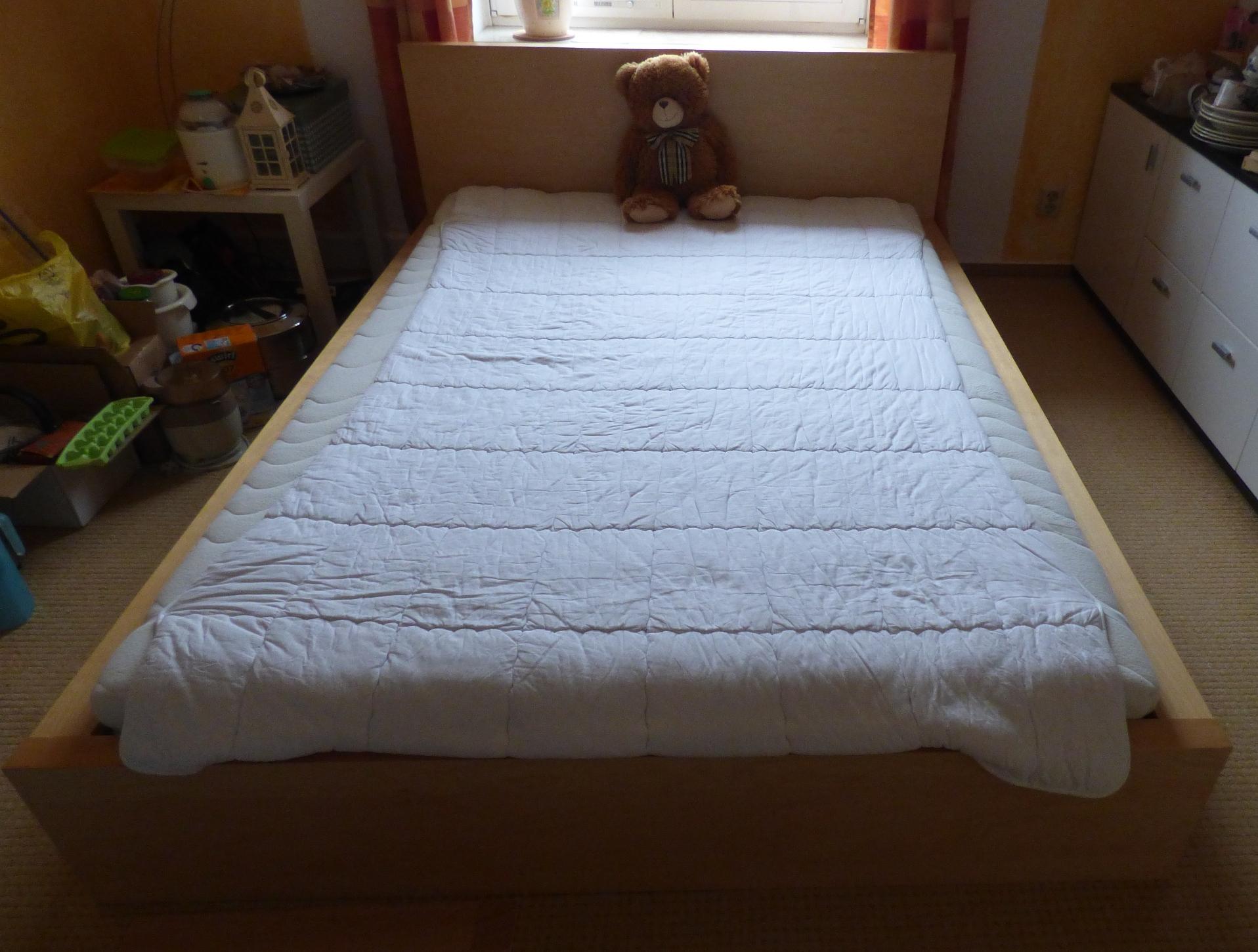 doppelbett holz buche hell mit lattenrost 200x140 cm liegefl che ohne matratze ebay. Black Bedroom Furniture Sets. Home Design Ideas
