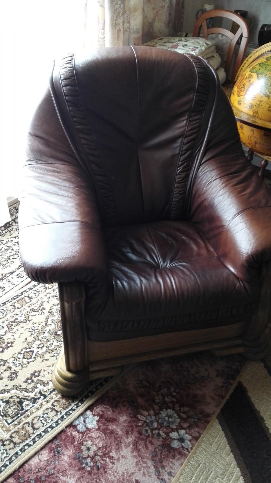 leder couch garnitur 3 tlg holz eiche massiv echtleder sofa 2 3 sitzer sessel ebay. Black Bedroom Furniture Sets. Home Design Ideas