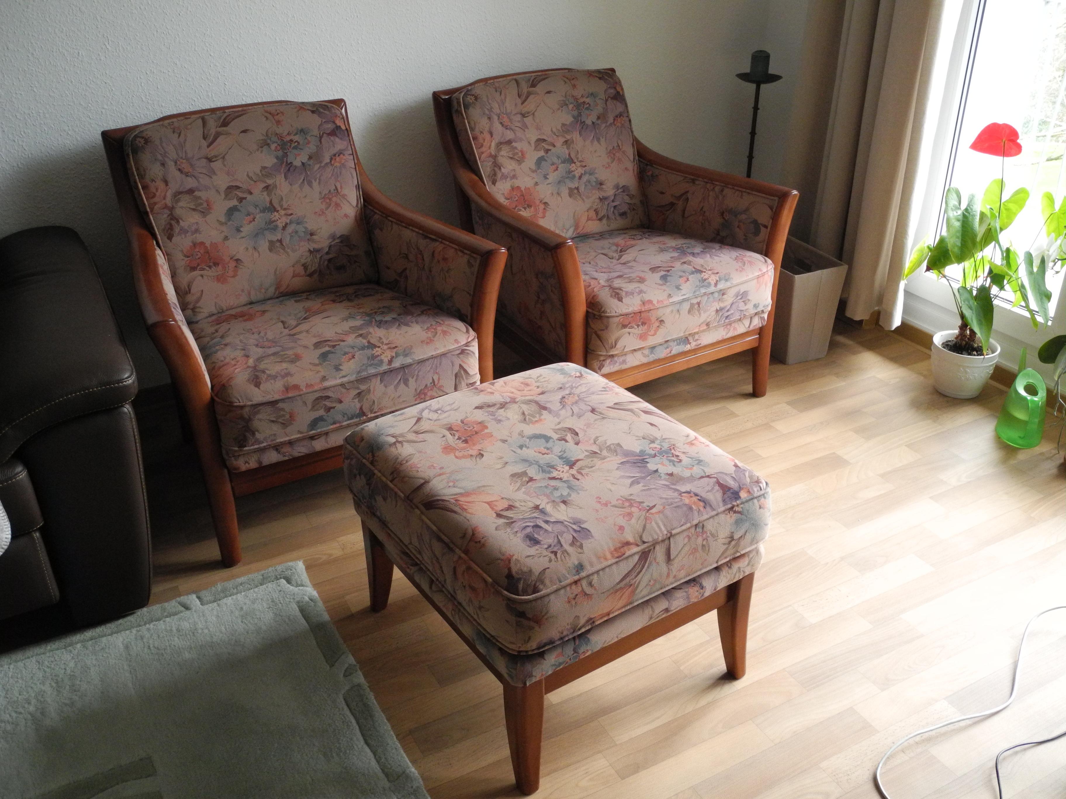 3tlg edle polster sessel garnitur m hocker kirschbaum lehnen stuhl vintage stil. Black Bedroom Furniture Sets. Home Design Ideas