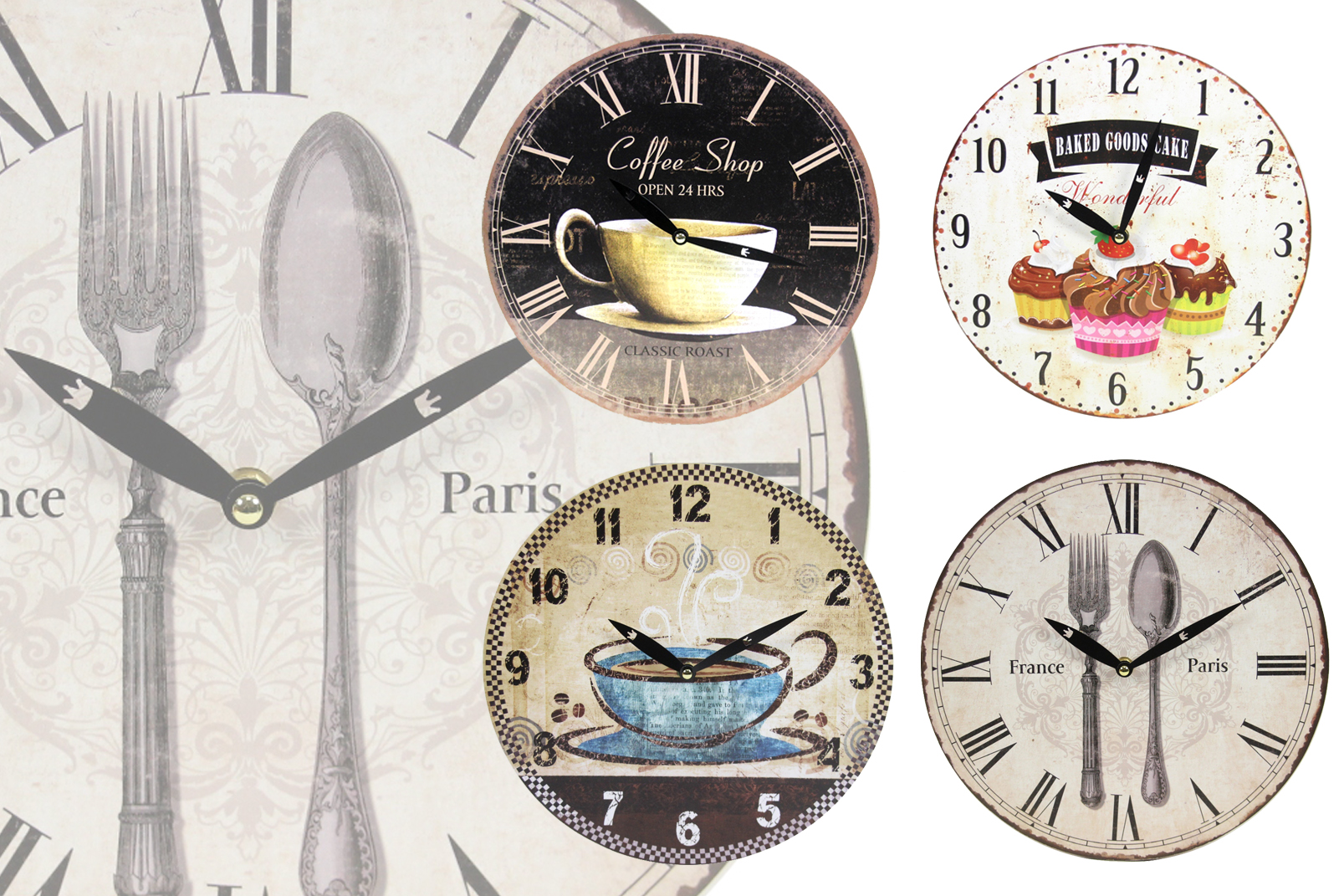 sch ne wanduhr im vintage look kaffee caf essen design wand uhr shabby chic ebay. Black Bedroom Furniture Sets. Home Design Ideas