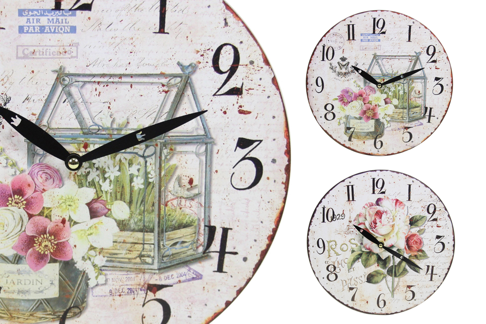 sch ne wanduhr im vintage look blumen rosen paris design wand uhr shabby chic ebay. Black Bedroom Furniture Sets. Home Design Ideas