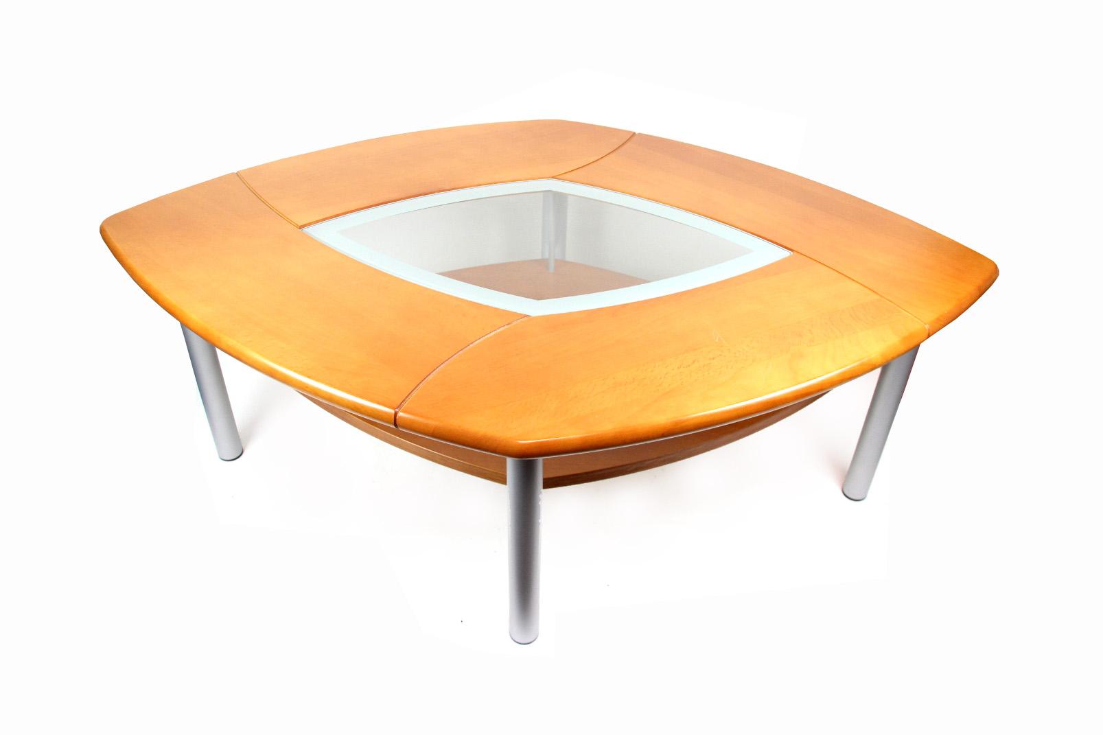 Holz couch beistell tisch kirschbaum silber raute glas for Beistelltisch lang