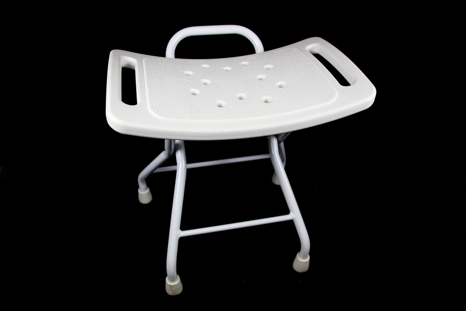 klappbarer duschhocker duschhilfe metall kunststoff wei dusch stuhl bad hocker ebay. Black Bedroom Furniture Sets. Home Design Ideas