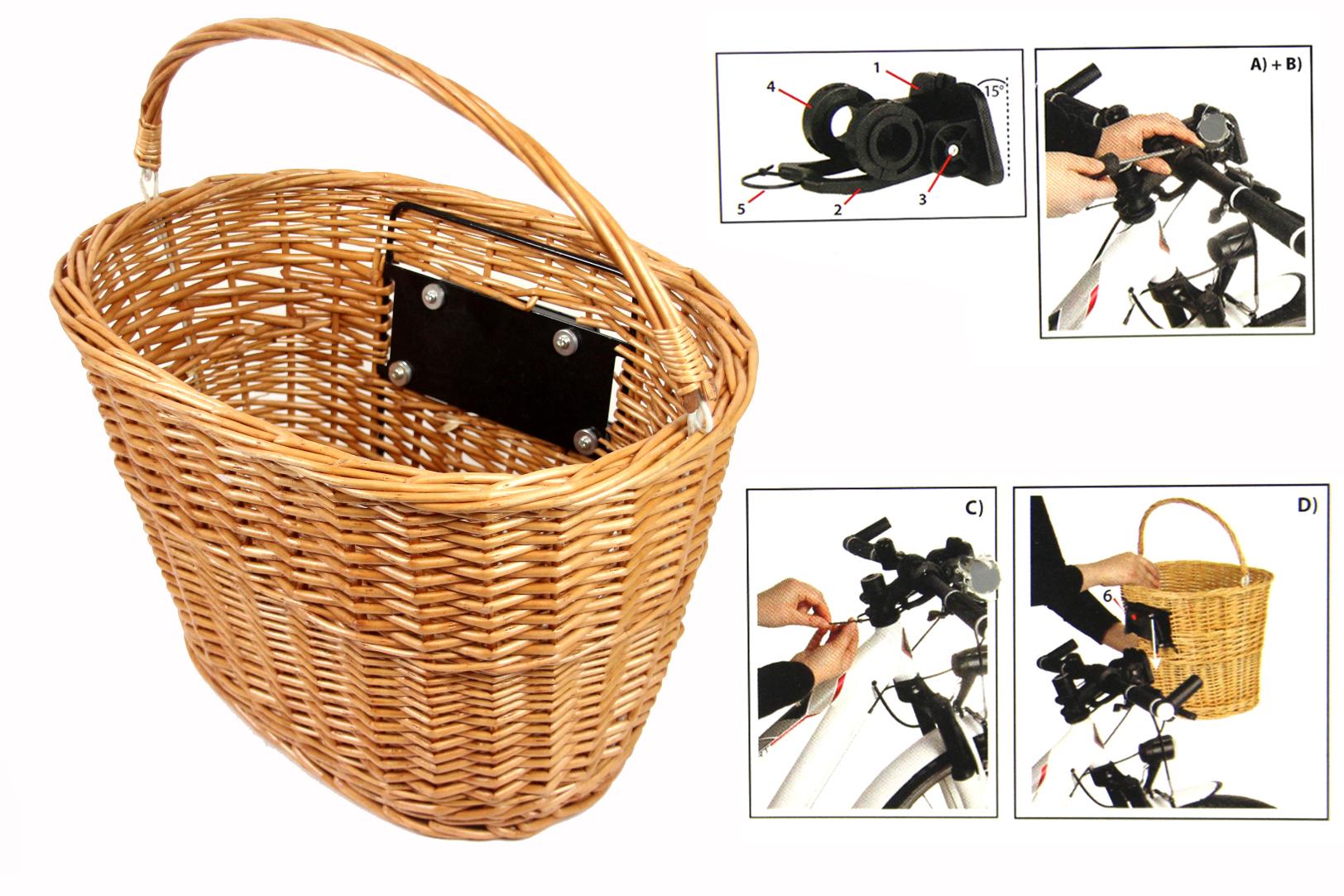 fahrradkorb mit clip klick halterung weidenkorb lenkerkorb. Black Bedroom Furniture Sets. Home Design Ideas