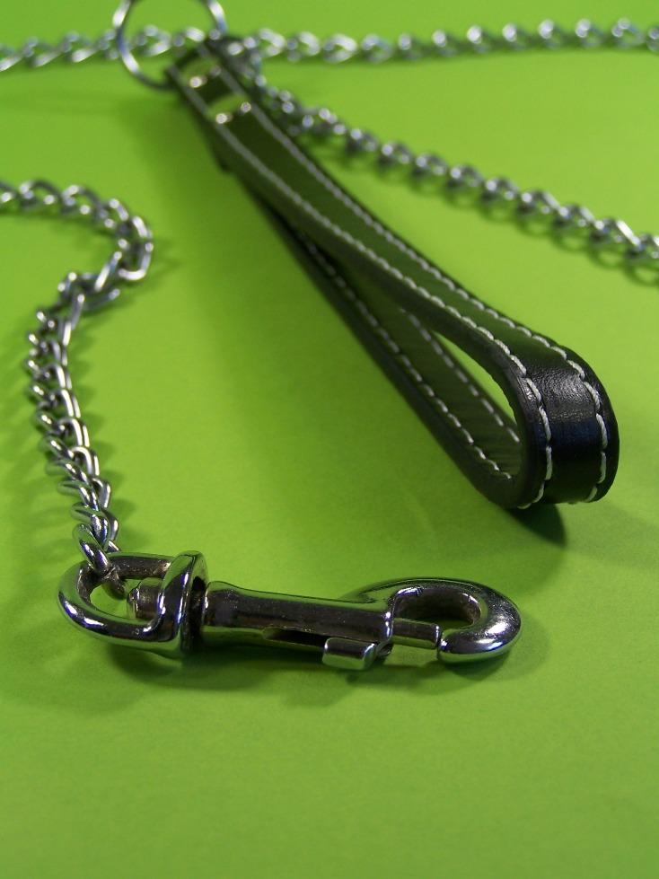hochwertige hundeleine 120 cm mit chrom kette ledergriff kettenleine hunde kette ebay. Black Bedroom Furniture Sets. Home Design Ideas