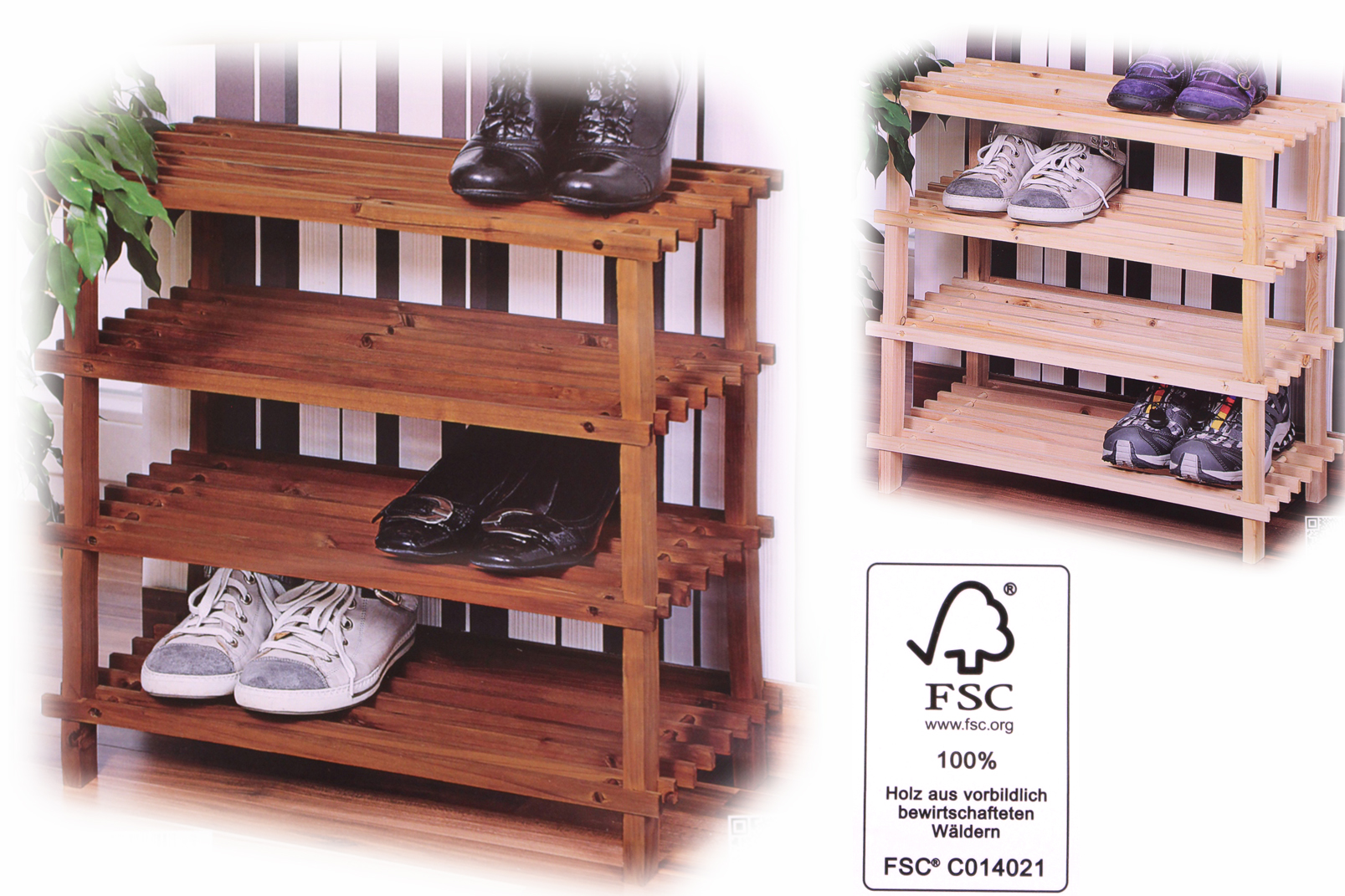 kesper fsc natur holz schuhregal schuhschrank vierst ckig tanne regal b54xh52cm ebay. Black Bedroom Furniture Sets. Home Design Ideas