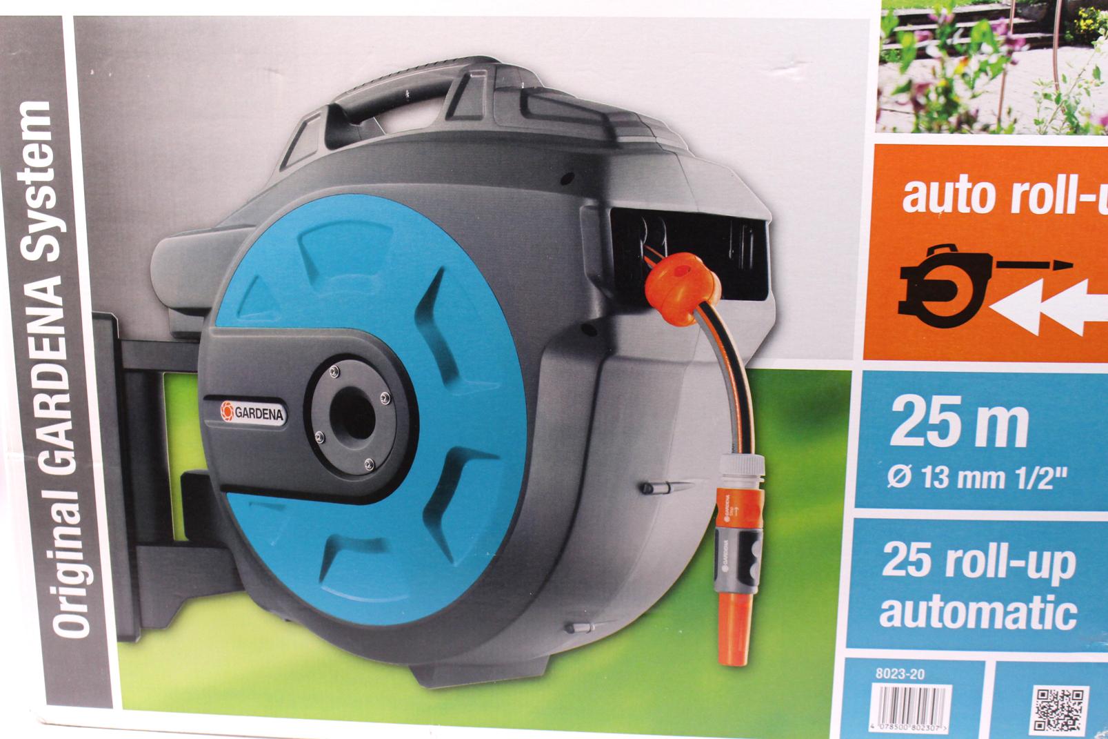 gardena 25 roll up automatic wand schlauchbox schlauch. Black Bedroom Furniture Sets. Home Design Ideas