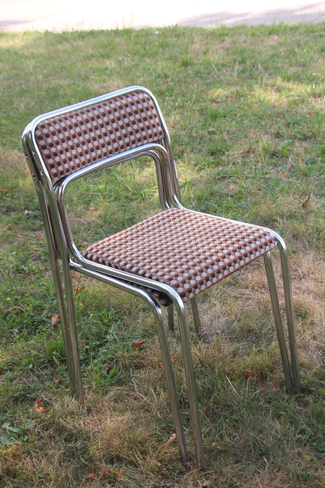 2x gartenhaus stuhl orig ddr leichtmetall holz textil balkon terrasse rohrstuhl ebay. Black Bedroom Furniture Sets. Home Design Ideas