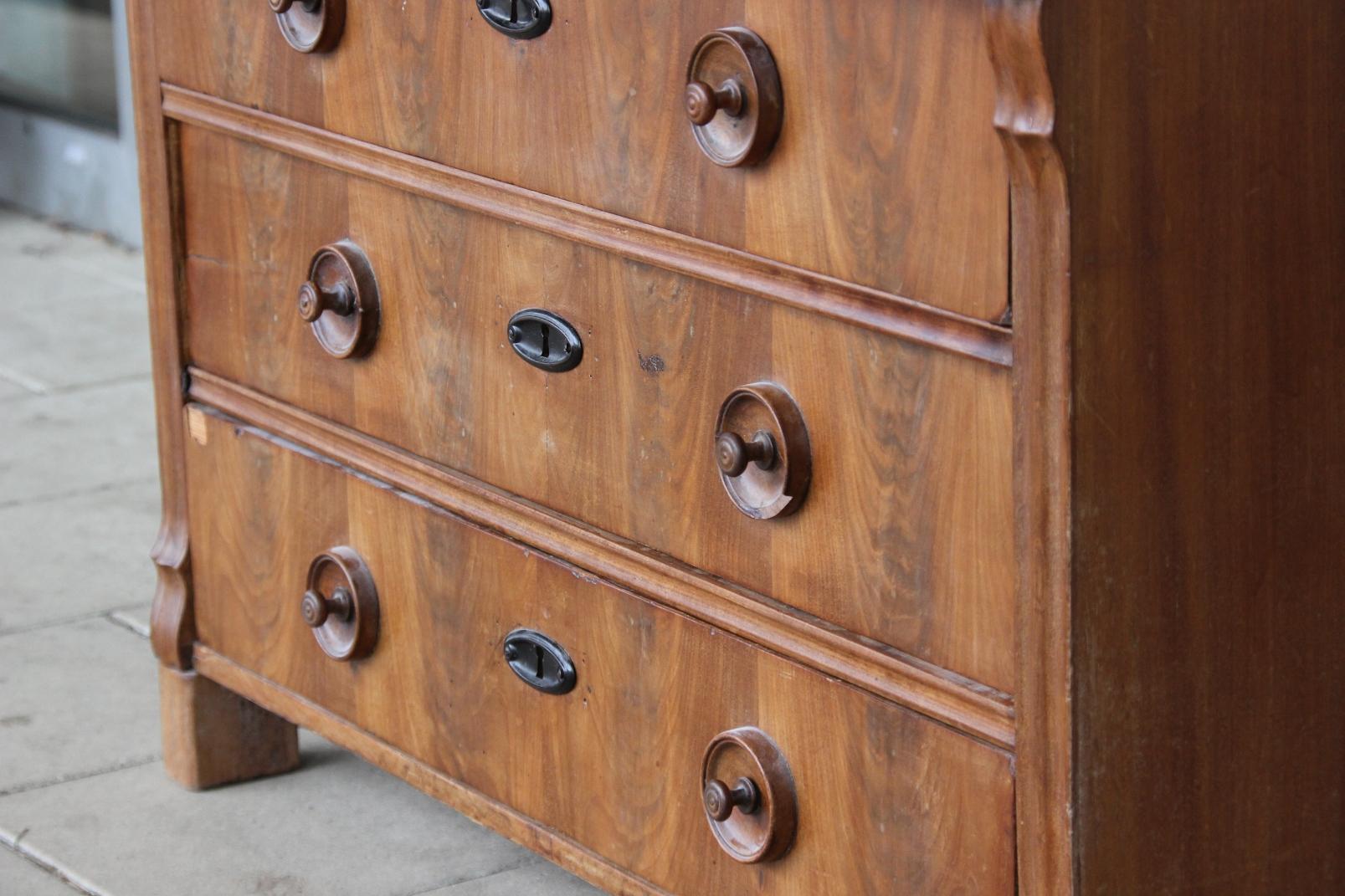 antike kommode nussbaum holz 5 schubl den um 1920 art d co sideboard anrichte ebay. Black Bedroom Furniture Sets. Home Design Ideas