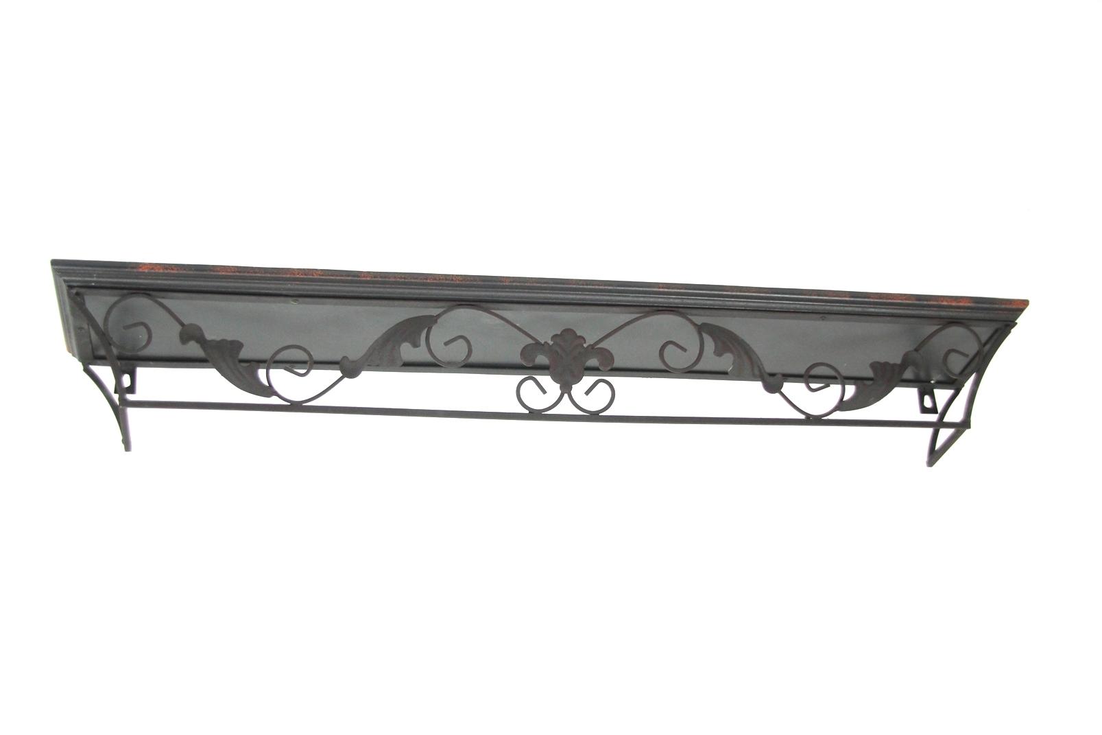 wand regal holz gusseisen bord verzierung wandregal 80x13. Black Bedroom Furniture Sets. Home Design Ideas