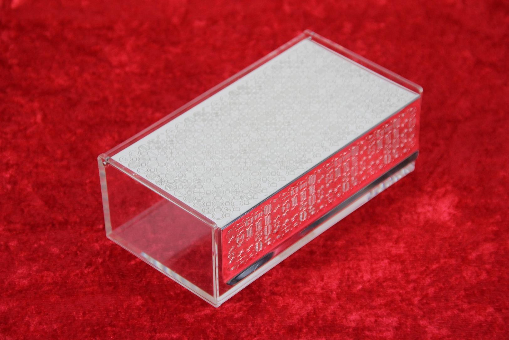 wmf serviettenhalter serviettenbox klappdeckel s collection plexi cromargan ebay. Black Bedroom Furniture Sets. Home Design Ideas