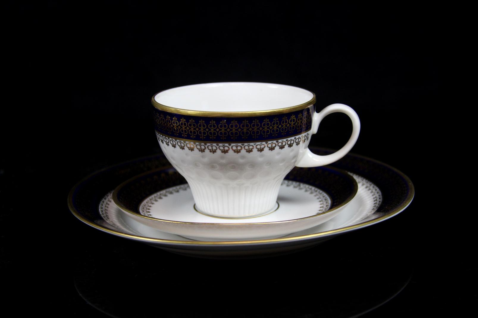 3 alte porzellan kaffeegedecke kahla echt kobalt 3 tlg kaffee sammelgedecke ebay. Black Bedroom Furniture Sets. Home Design Ideas