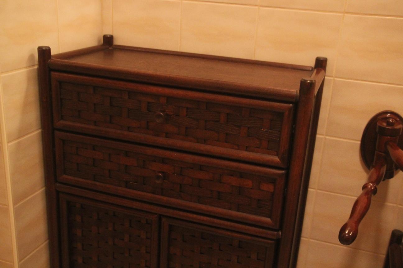 8 tlg badgarnitur badezimmer bad m bel rattan h ngeschrank. Black Bedroom Furniture Sets. Home Design Ideas