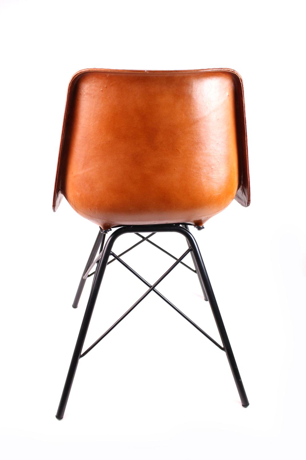 Austerlitz stuhl im industrial stil aus leder metall for Design stuhl leder metall