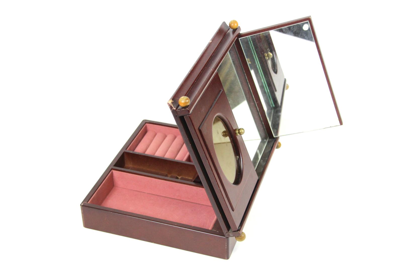 schmuck k stchen schmink spiegel mahagoni holz schatulle mit 2 bilder rahmen. Black Bedroom Furniture Sets. Home Design Ideas