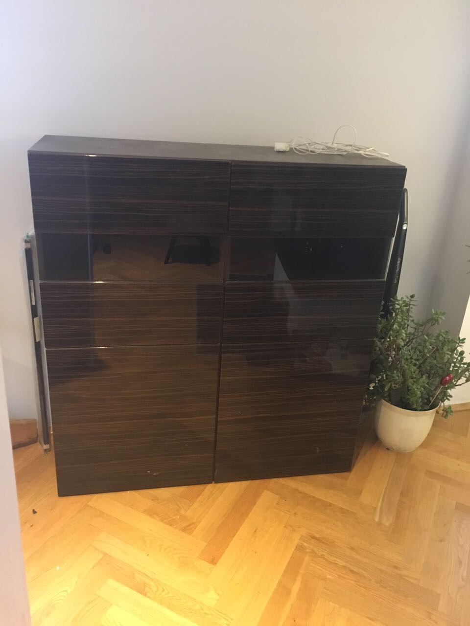ikea besta sideboard schwarz braun selsviken mit beleuchtung highboard kommode ebay. Black Bedroom Furniture Sets. Home Design Ideas