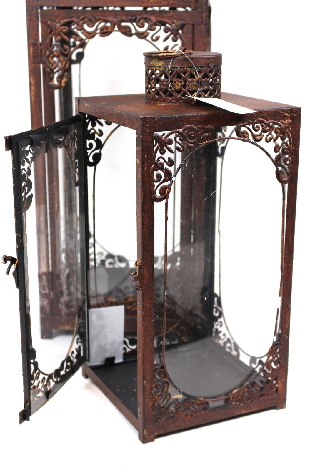 3 tlg xxl windlicht set metall glas mediterran landhaus for Xxl windlicht
