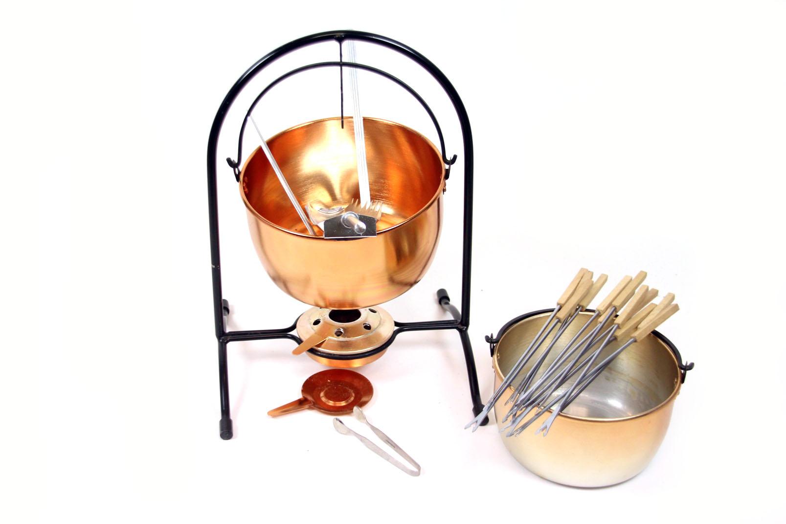 schönes DDR Feuerzangenbowle Set Kupfer Eisen mit Zubehör